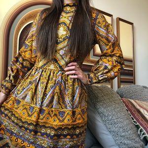 Vintage 70s psychedelic boho maxi dress